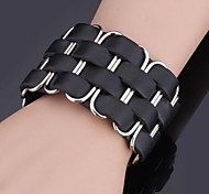 U7® Platinum Plated 2 Colors Choose Brand Genuine Leather Bracelet 3 sizes adjustable For Men \ Women Jewelry