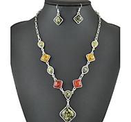 colorido queda quadrado âmbar colar vintage& conjunto de jóias brincos