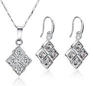 Z&X® European Style Square Rhinestone Necklace And Earrings Jewelry Set (1 set)