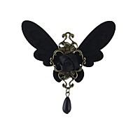 2014 Hot Sale Gothic Style Black Butterfly Shaped With Anqitue Metal Flower China Wholesale Brooch
