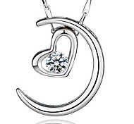 925 Sterling Silver Moon Represents My Heart With Water Wave Necklace