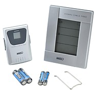 inalámbrica de interiores&piscina al aire libre&dual termómetro reloj despertador con sensor remoto - blanco + plata (2 x AA / 2 x AAA)