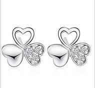 925 Sterling Silver Stud Earrings Female Clover