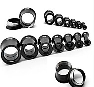 Fashion Unsex Stainless Steel Screw Hollow Ear plugs Flesh tunnel Gauges Piercing Body Jewelry A Set Of 2 6mm