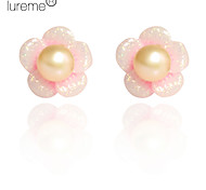 Lureme®Flower Pattern Pearl Earrings