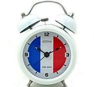 National Flag Pattem Quartz Analog Alarm Clock (White, 1xAA)