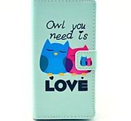 Owl You Need Love Pattern PU Leather Full Body Cover with Card Slot for Sony Xperia M2 S50h
