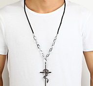 Zinc Alloy Silver Cross Loong Pendant Necklace