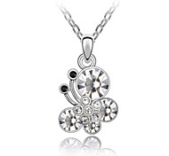 Chat of Butterfly Short Necklace Plated With 18K True Platinum Clear Crystallized Austrian Crystal Rhinestone