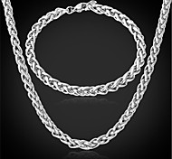 U7®Cool Men's 316L Stainless Steel Link Twisted Chain Necklace Bracelet for Men Never Fade Jewelry Set
