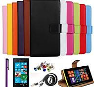 Ultra Slim einfarbige Tasche aus echtem Leder mit Film, Kabel, Staubstecker und Stylus für Nokia Lumia n520 (farblich sortiert)