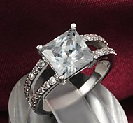 Fashion Silver Two Rows Of Zircon Statement Ring For Women (1 pc)