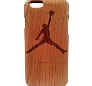 Kyuet Wooden Case Artist Made Cherry Wood Laser Engraving Jordan Shell Cover Skin Cell Phone Case for iPhone 6 Plus