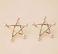 Pearl Stars Stud Earrings