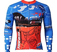 PaladinSport Men's  Summer and Autumn Style 100% Polyester Blue And Red Sprint Long Sleeved Cycling Jersey