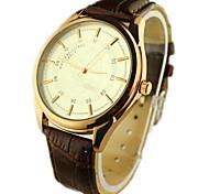 Männer runde Zifferblatt PU-Band-Quarz-analoge Armbanduhr