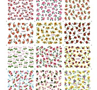 12Sheets/Bag Fruit Styling Nail Art Toe Sticker Decals With Flower  Butterfly Pattern