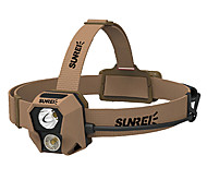 SUNREI Waterproof 3-Mode 2*Cree XPG2 R4 Headlamp(240LM,1*18650/2AA,Brown)