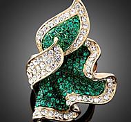 YUAN Fashion Casual High Quality Leaf Rhinestone Ring