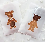 50pcs Cute Bear Self Adhesive Cookie Bakery Candy Biscuit Jewelry Gift Bag