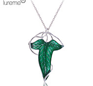 Lureme®Silver Plated Alloy Acrylic Leaf Pattern Necklace