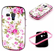 2-in-1 Pink Rose Peony Pattern TPU Back Cover with PC Bumper Shockproof Soft Case for Samsung S3 Mini I8190