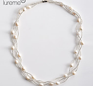 Lureme®Waving Pattern Pearl Necklace