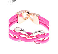 Lureme®Candy Color Infinite Charm PU Bracelet(Random Color)