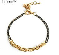 Lureme®Double Colors Chain Style Metal Bracelet
