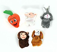 Cute Puzzle Boy Doll Finger Monkey + Rabbit + Sheep + Dog + Carrot Set - Multicolored(5 Pcs)