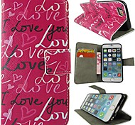 Rose I Love You PU Full Body Protective Cover with Stand and Card Slot for iPhone 6