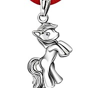 925 Sterling Silver Pony Pendant Necklace With Red Line