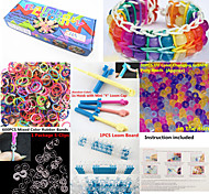 Rainbow Loom Kit with UV Color Changing Pony Beads for DIY Bracelet(50 Beads,600 Bands,1 Pack Clips,Board,Hook)