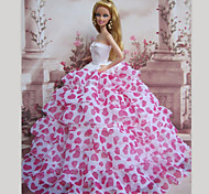 Barbie Doll Sweet Girl Loving Heart Pattern Layered Princess Dress