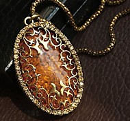 Women's Classic Vintage Hollow Amber Necklace