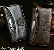 Crazy Horse + Lichee Pattern Wallet Stand PU Leather Case for iPhone 4/4S (Assorted Colors)