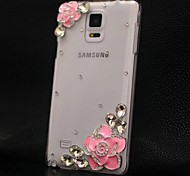 Transparent Handmade Diamond Pink Camellia PC Hard Case for Samsung Galaxy Note 4
