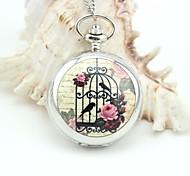 personalizzato modello gabbia orologio da tasca argento smaltato cordini metallici stile casuale