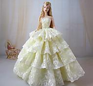 Barbie Doll Light Yellow Princess Wedding Dresss