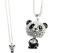 Long Flash of Diamonds Big Panda Pendant Necklace Sweater Chain