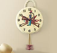Indian Drum Polyresin Wall Clock with Pendulum