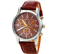 Men's Round Case PU Band Quartz Analog Wrist Watch Cool Watch Unique Watch