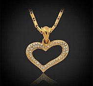 U7® Hot Sale Heart Charms 18K Real Gold Plated Rhinestone Crystal Pendant Necklace