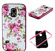 2-in-1 Pink Rose Peony Pattern TPU Back Cover with PC Bumper Shockproof Soft Case for Samsung S5 Mini