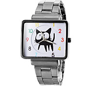 Women's Square Cute Cat Pattern Dial Steel Band Quartz Wrist Watch (Assorted Colors) Cool Watches Unique Watches