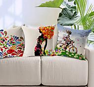 un ensemble de trois motif coloré coton / lin taie d'oreiller décoratif