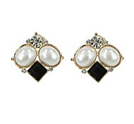 The Latest Version of South Korea Type Pearl Diamond Stud Earrings