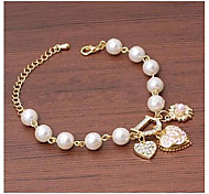 Heart Flower Pearl Gold Bracelet #35-1