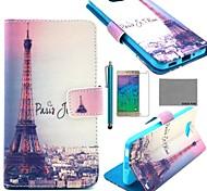 COCO FUN® Eiffel Tower In Night Pattern PU Leather Case with Flim and Stylus for Samsung Galaxy Alpha G850F G850