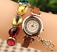 Women's Round Crystal Gemstone Fashion Leather Japanese Quartz Watch (Assorted Colors)